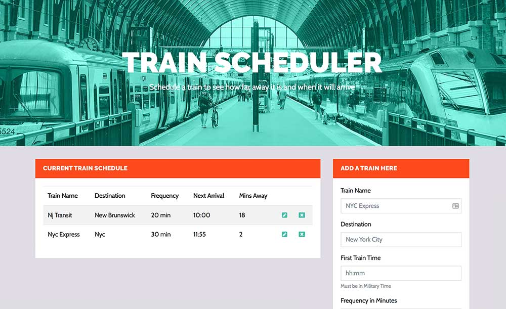 Train Scheduler App